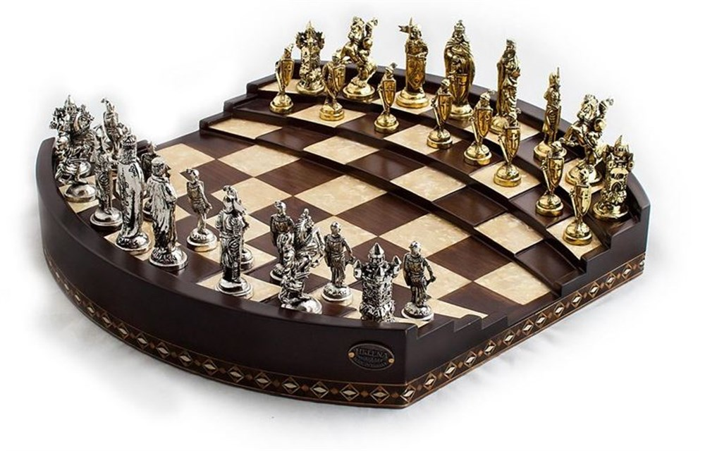 Arena 3D Chess Board Walnut Big Size  | Metal Figürlü